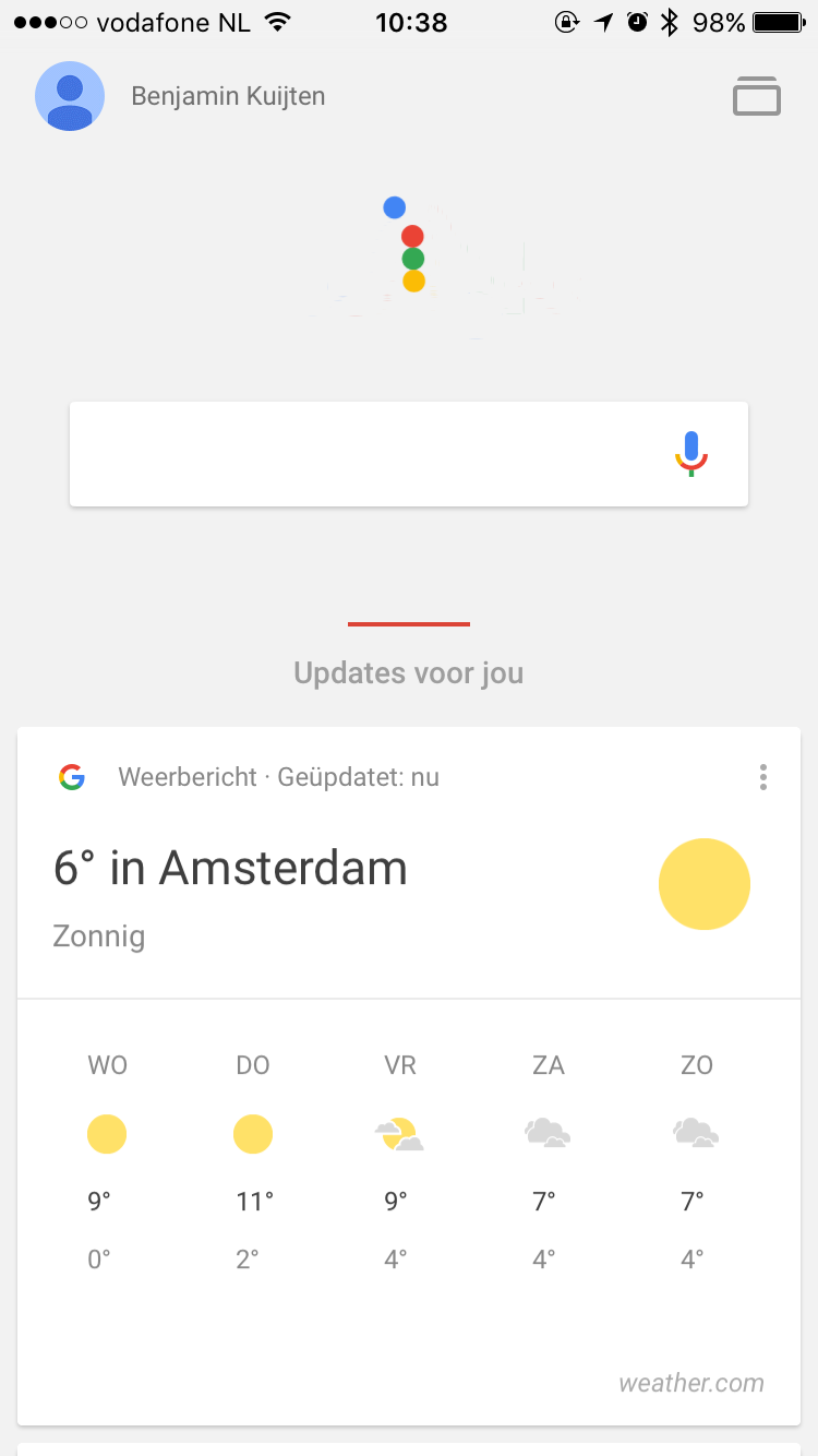 Google-app met korte animaties in iOS 9.