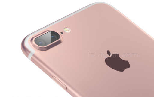 Render van een gelekte foto van de iPhone 7 Plus.