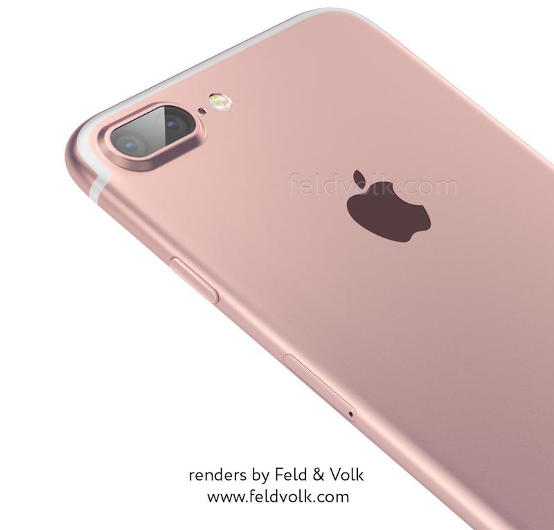 Render van de iPhone 7 met dubbele cameralens.