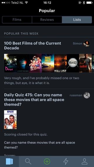 In de app zijn allerlei verschillende filmlijsten te vinden.