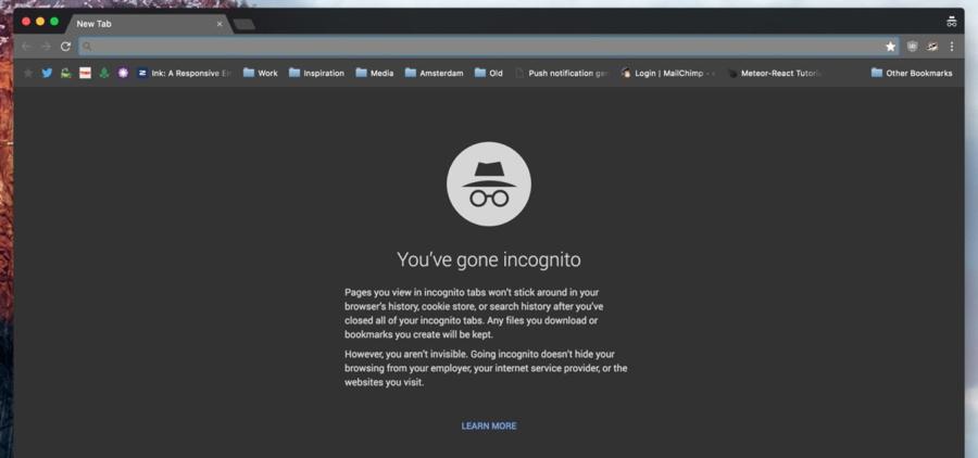 Het nieuwe uiterlijk van de incognitomodus van Google Chrome.