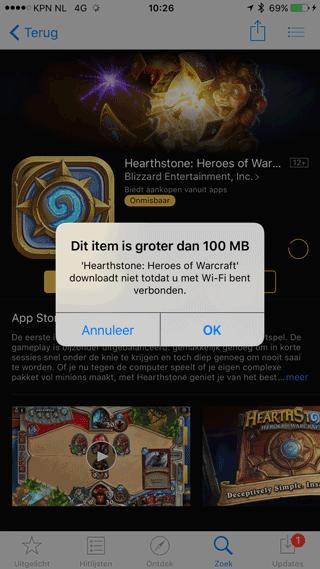 App Store-item groter dan 100MB