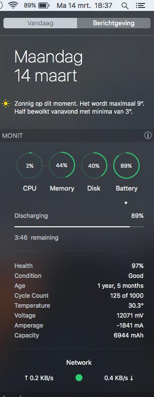 MONIT laat je batterij zien in het Berichtencentrum.