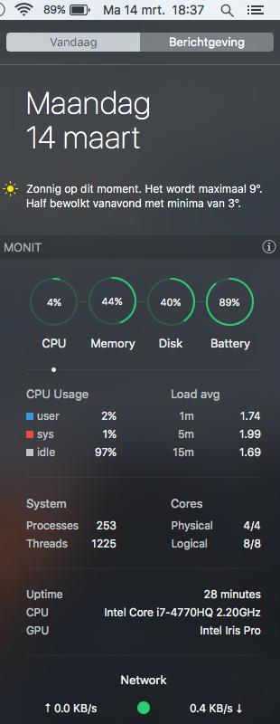 MONIT in het Berichtencentrum toont het CPU-verbruik.