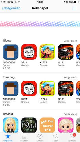 App Store algoritme stuk: rollenspel