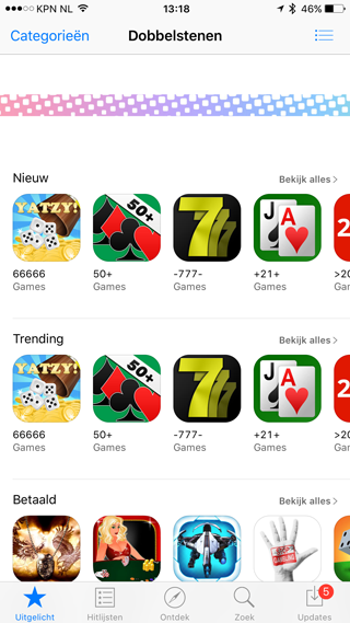 App Store algoritme stuk: dobbelspellen