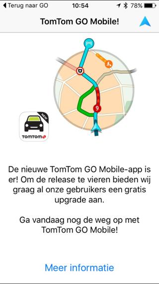 In de oude TomTom-app kun je overstappen naar GO.