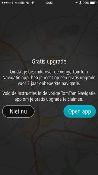 Zodra je TomTom GO opent verschijnt er een aanbod om over te stappen.