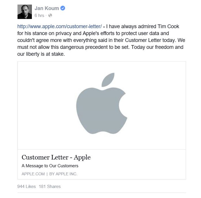 Jan Koum steunt Apple in privacy-debat
