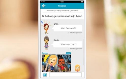 Miitomo voor smartphones met een gesprek tussen vrienden.