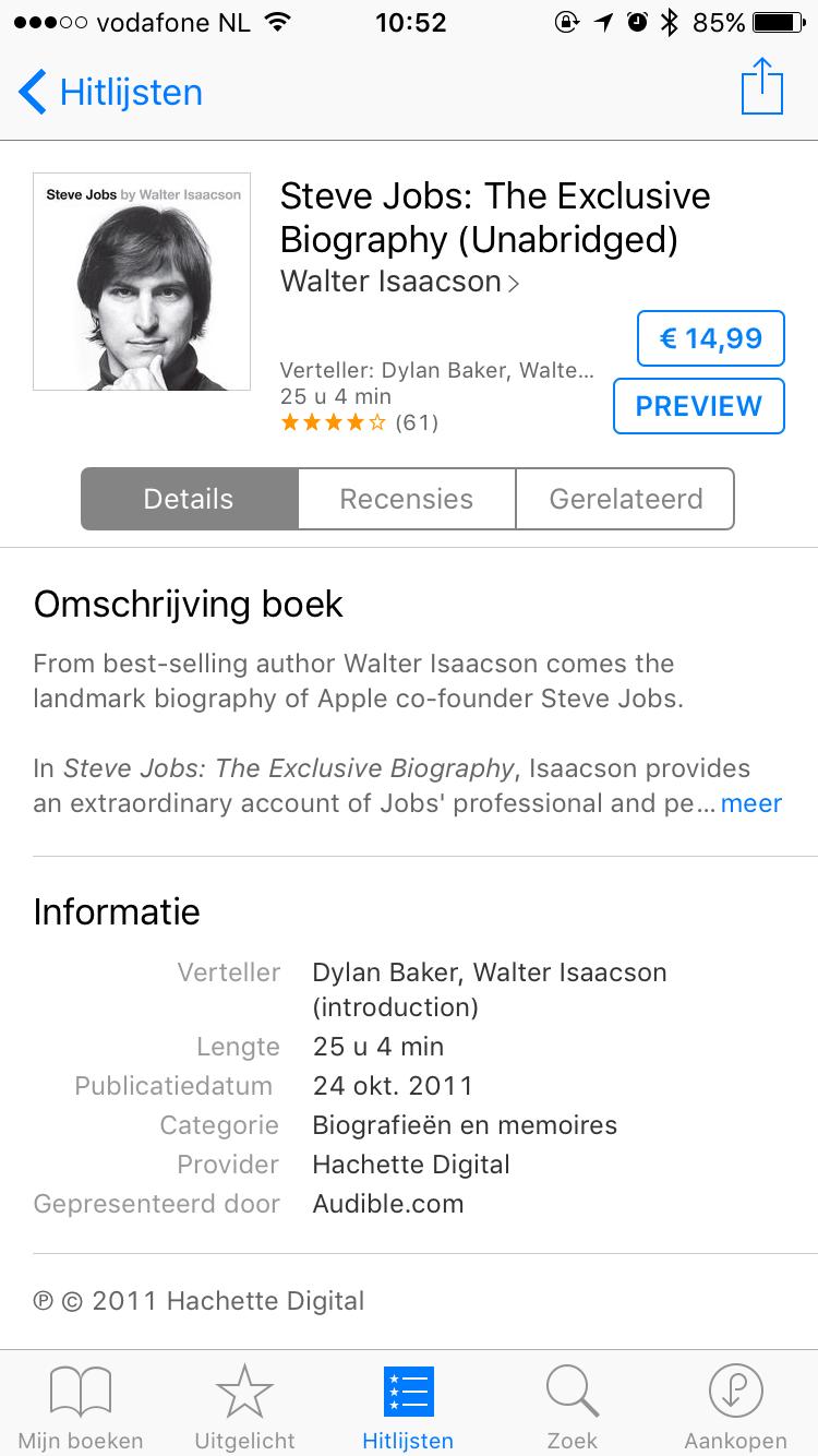 Steve Jobs audioboek in iBooks.