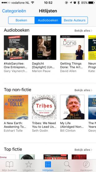 Audioboeken in iBooks op de iPhone.