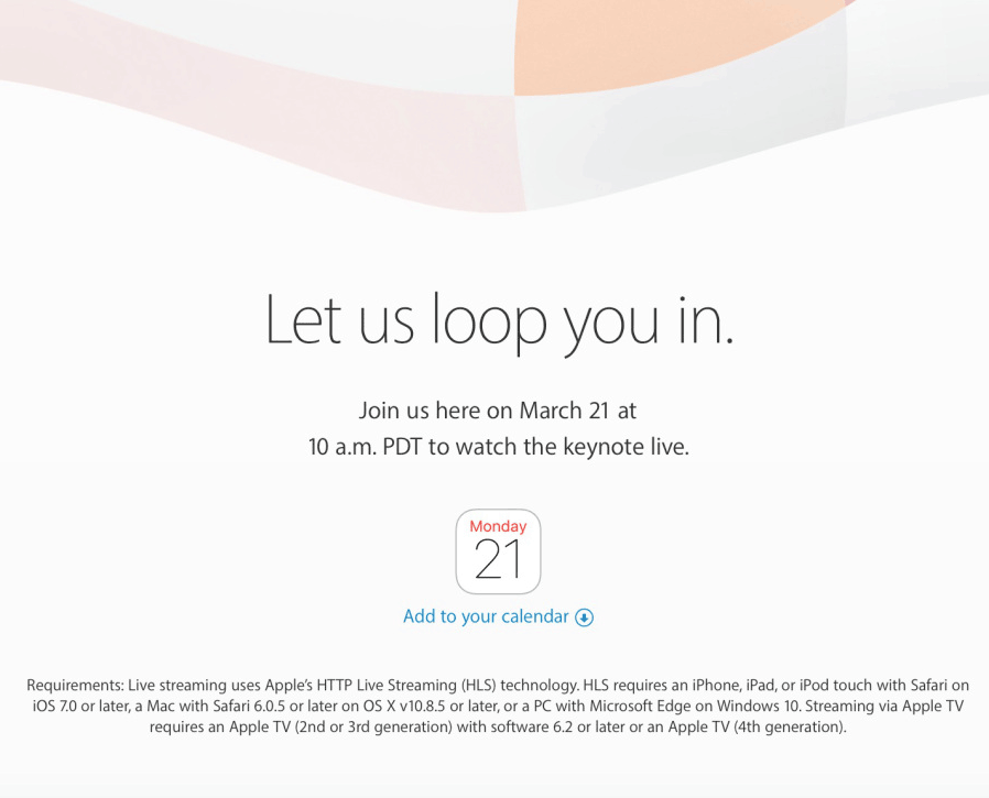 Apple event op 21 maart, livestream