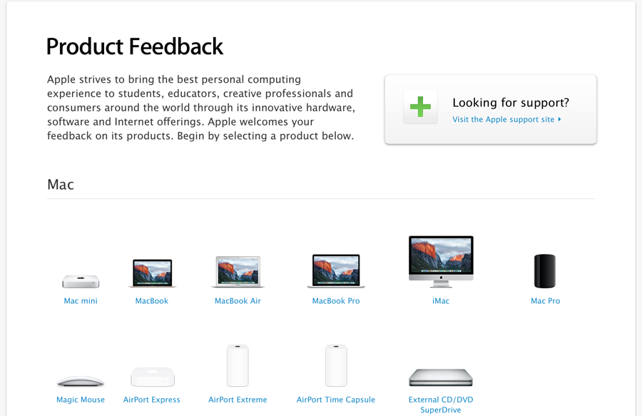 Apple feedback geven via de website.