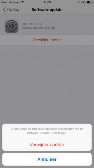 Een gedownloade iOS-update verwijderen.