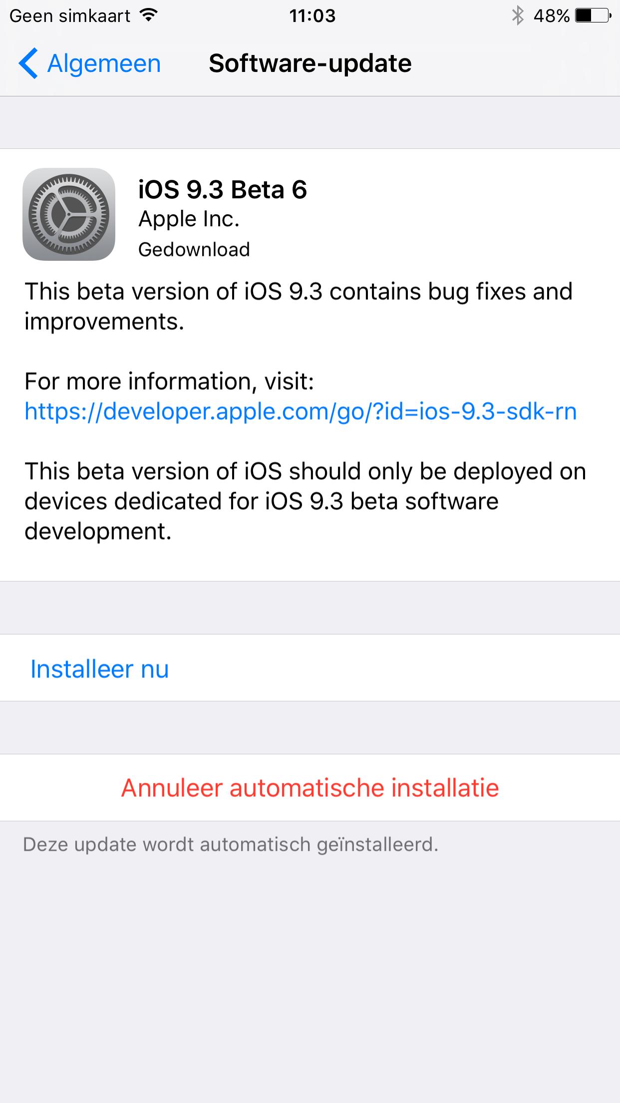 Automatische iOS-installatie annuleren.