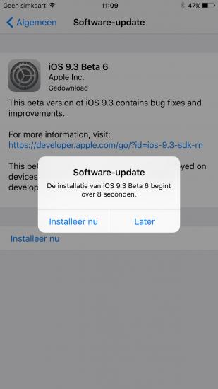 Installeer een update van iOS op een later moment.