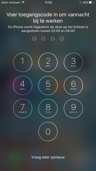 iOS-update in de nacht installeren.