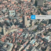 Gent als Flyover-stad in Apple Maps.