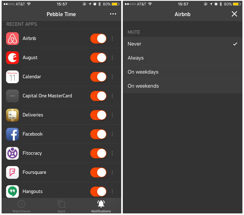Pebble Time-app voor het instellen van notificaties.