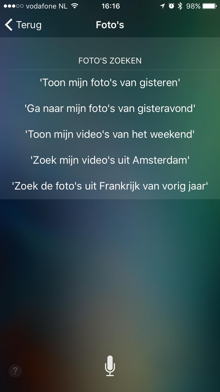 Zoeken naar foto's dankzij Siri.