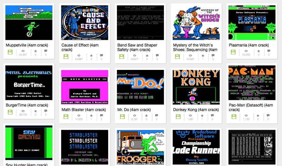 The Internet Archive met Apple 2 games en programma's.