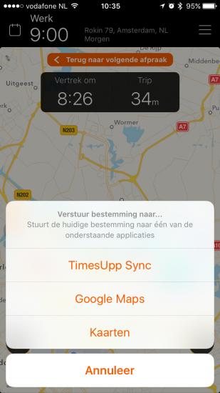 TimesUpp laat je de route doorsturen naar andere apps.