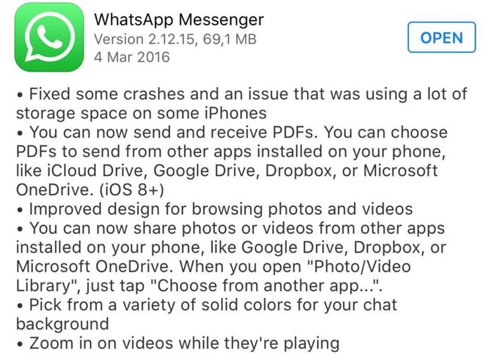 WhatsApp update tekst