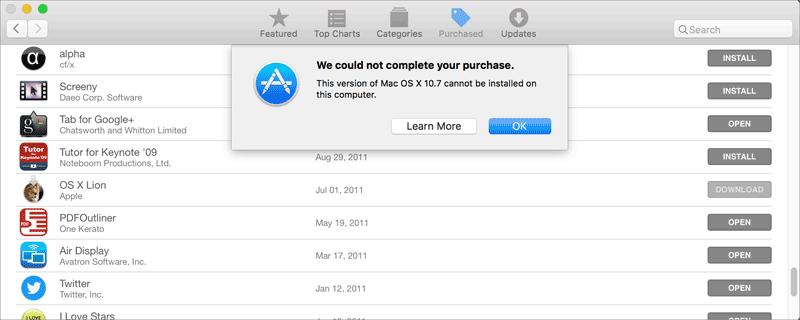 OS X te oude versie