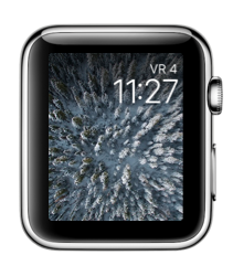 Facer op de Apple Watch met winterse bomen.