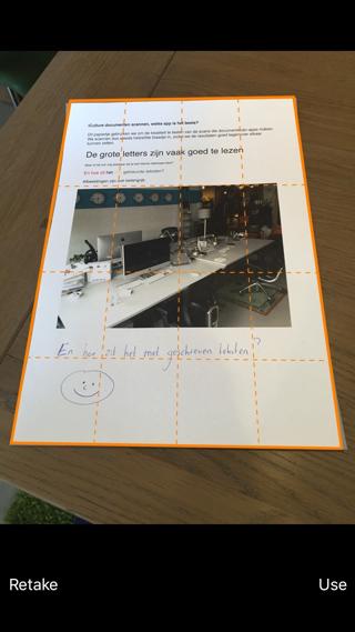 Genius-scan kiest ook zelfstandig de omlijning van het document.
