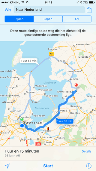 Apple Maps kaart Nederland