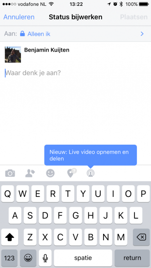 Facebook Live opstarten via de Facebook-app.