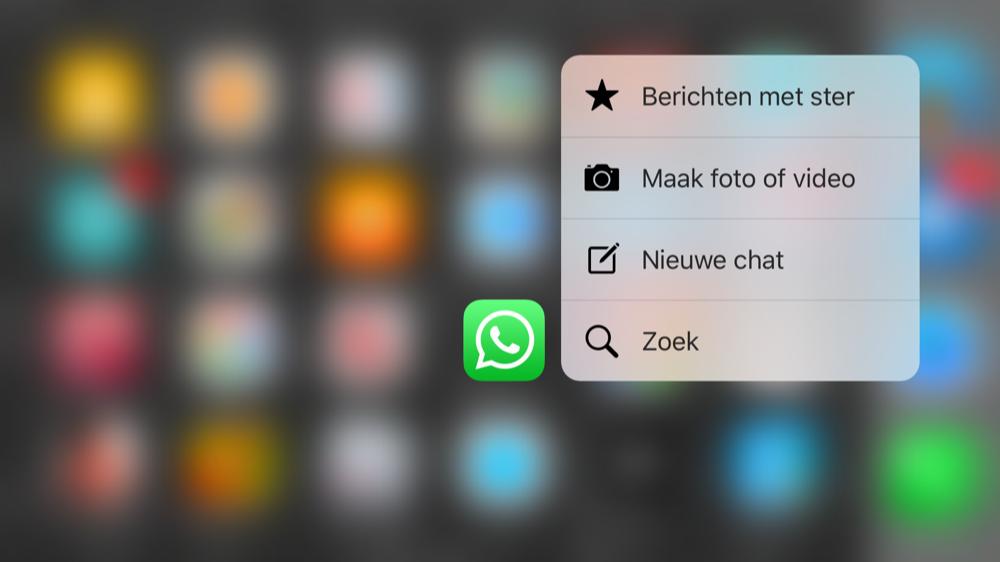 WhastApp met nieuwe 3D Touch-actie voor Berichten met ster en het maken van een foto en video.