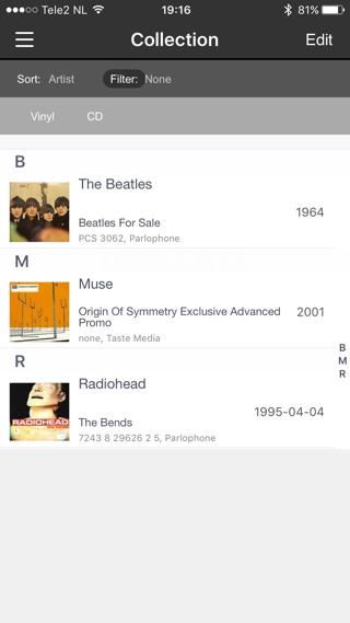 Zo ziet je collectiepagina eruit in Discogs.