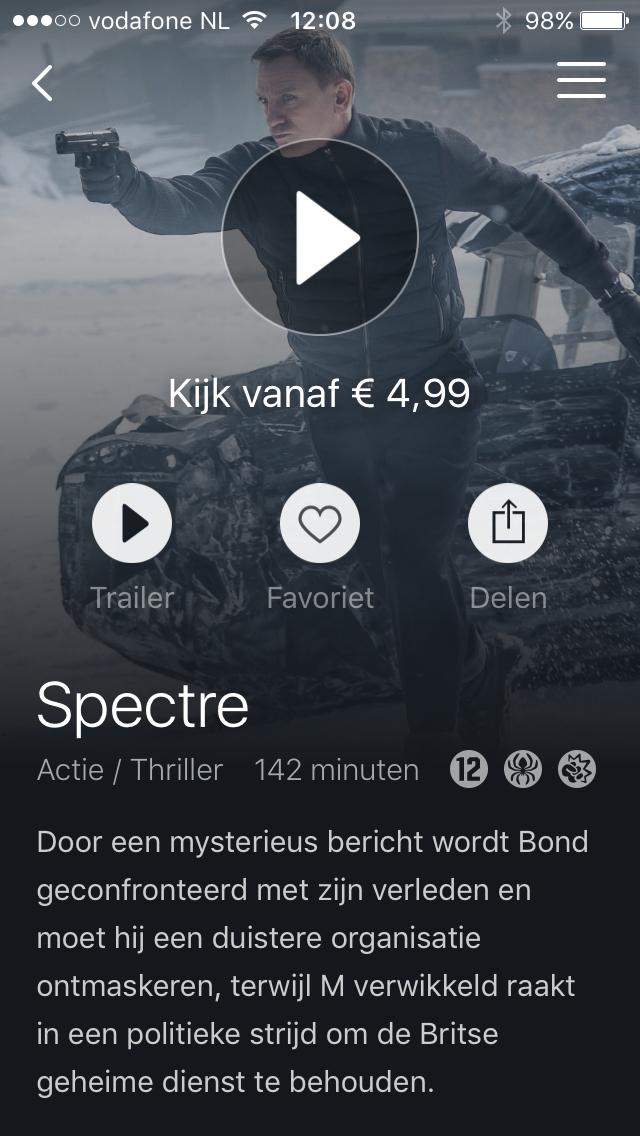 Pathé Thuis op de iPhone met James Bond Spectre.