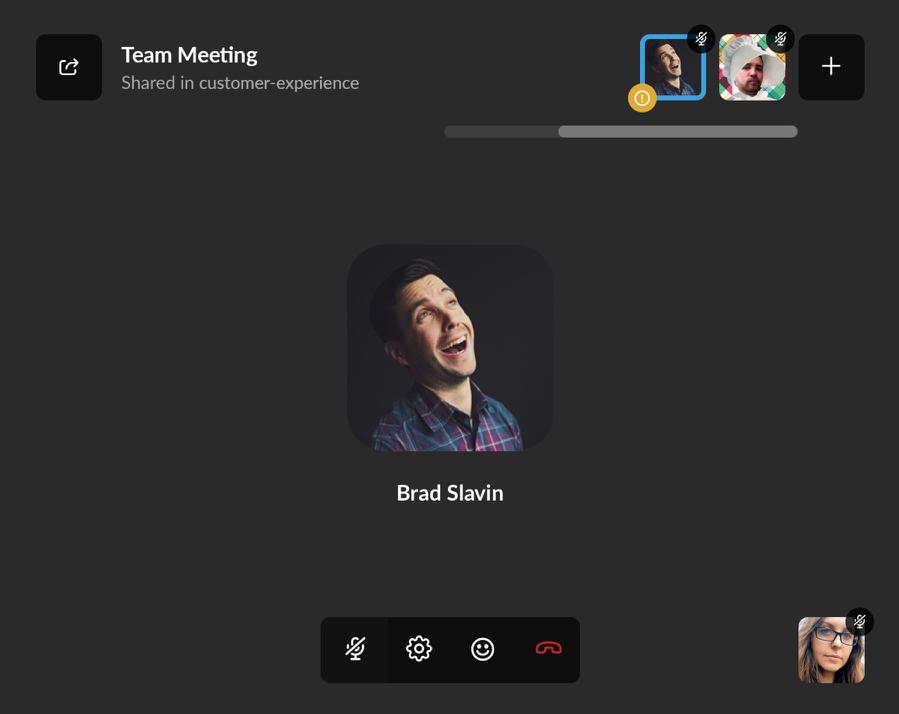 Een audiogesprek in Slack met een groep.
