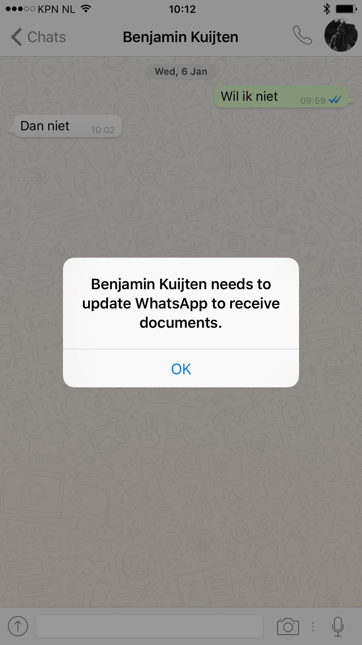 WhatsApp-foutmelding bij het versturen van een document.