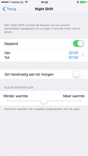 Een Night Shift tijdsschema instellen in iOS 9.3 beta 5.