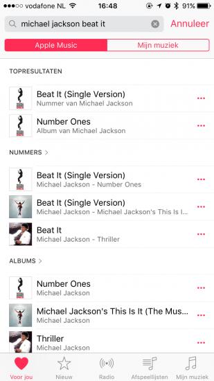 Zoeken naar een combinatie tussen artiest en nummer in Apple Music.