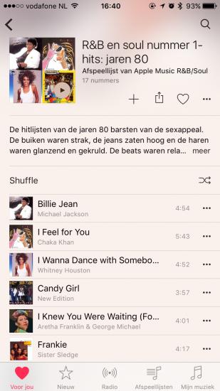 Apple Music afspeellijst speciaal Voor jou.