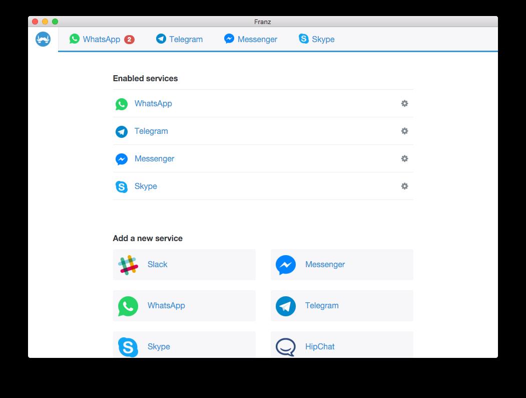 Franz voor Mac ondersteunt meerdere chatdiensten.