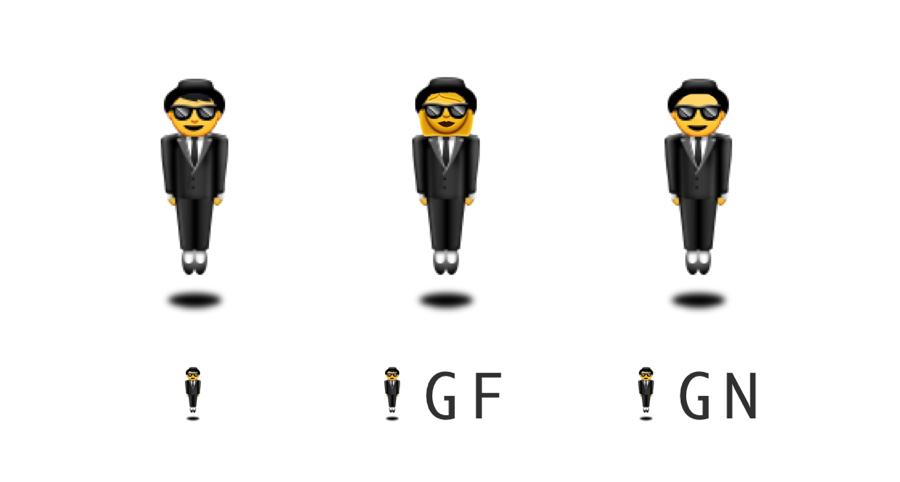 De drie geslachtsopties van Emoji die zweven.