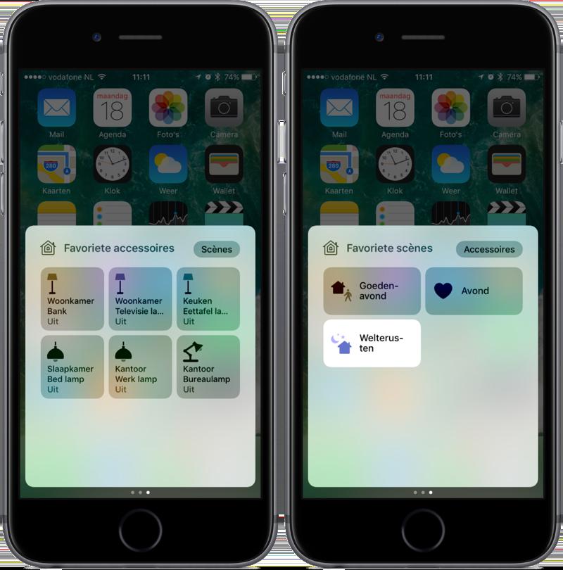 Derde scherm van het Bedieningspaneel in iOS 10.