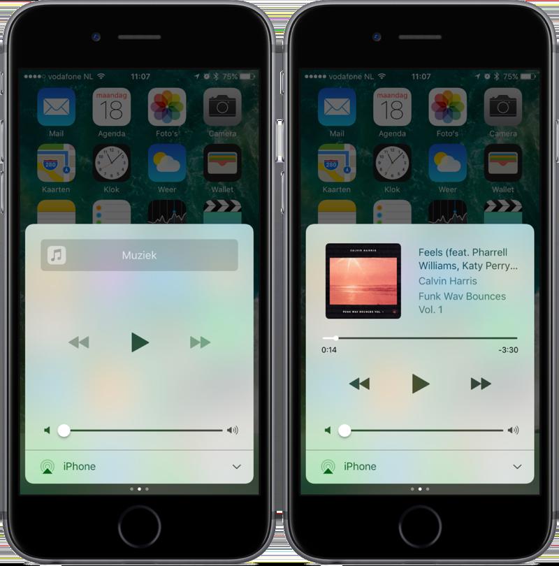 Tweede scherm van het Bedieningspaneel in iOS 10.