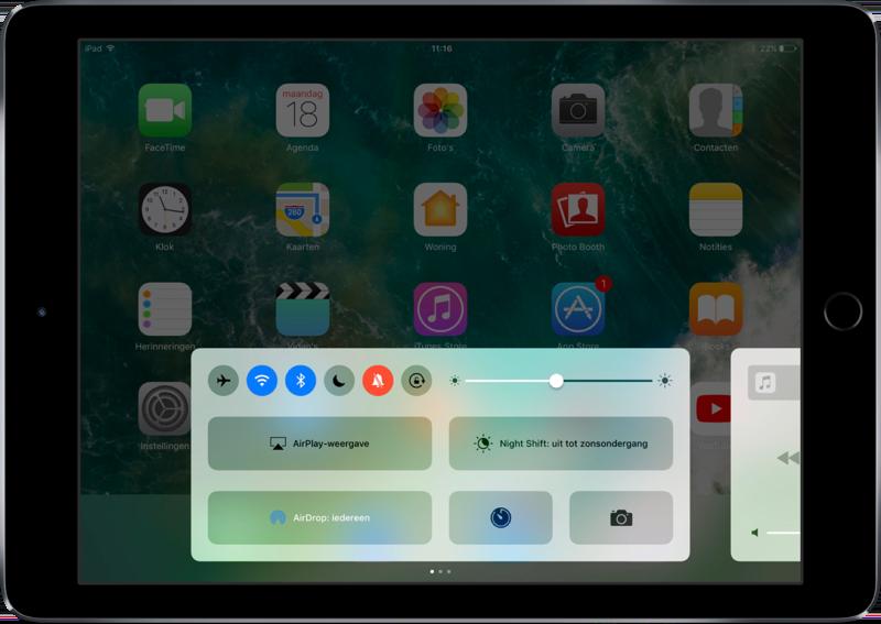 Bedieningspaneel in iOS 10 op de iPad.
