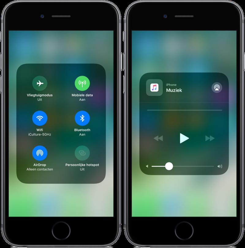 Knoppen voor instellingen en media in het Bedieningspaneel in iOS 11.