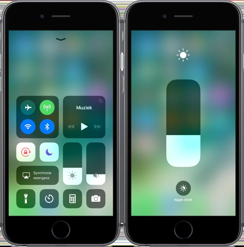 Bedieningspaneel in iOS 11 met Niet storen, Schermrotatie en helderheid.