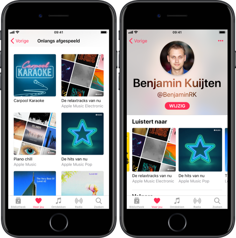 Luistergeschiedenis Apple Music op de iPhone.