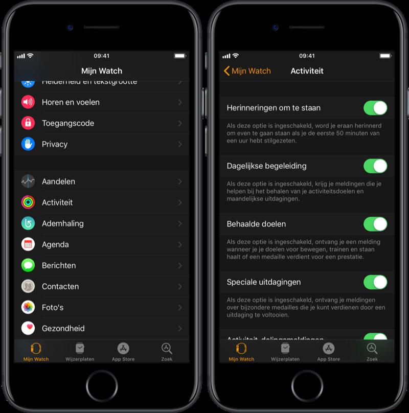 Apple Watch staanmeldingen in Activiteit-app.